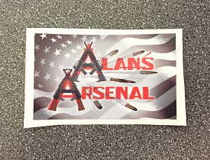 "Alan's Arsenal 3.5"" x 2"" Sticker"